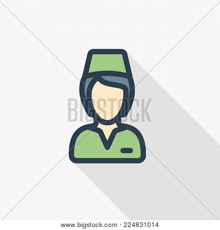 Hotel maid avatar.Cleaning woman uniform thin line flat color icon. Linear vector illustration. Pictogram isolated on white background. Colorful long shadow design.
