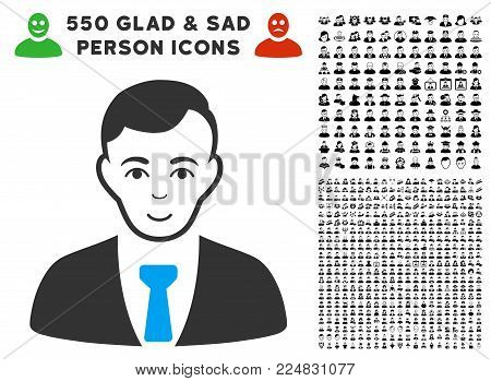 Enjoy Businessman vector pictograph with 550 bonus pitiful and glad jobs design elements. Human face has gladness mood. Bonus style is flat black iconic symbols.