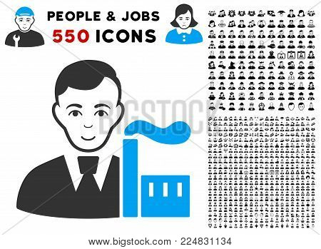Cheerful Capitalist Oligarch vector icon with 550 bonus sad and glad person pictographs. Person face has gladness expression. Bonus style is flat black iconic symbols.