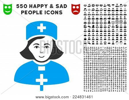Smiling Church Female Doctor vector pictogram with 550 bonus pity and glad person symbols. Human face has glad emotions. Bonus style is flat black iconic symbols.