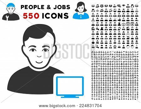 Smiling Computer Administrator vector icon with 550 bonus sad and glad men images. Person face has happiness expression. Bonus style is flat black iconic symbols.