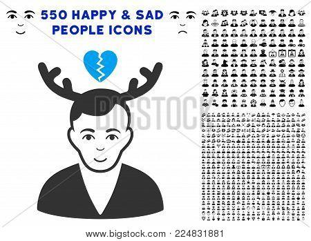 Positive Deceived Horned Husband vector icon with 550 bonus sad and happy person design elements. Human face has joy sentiment. Bonus style is flat black iconic symbols.