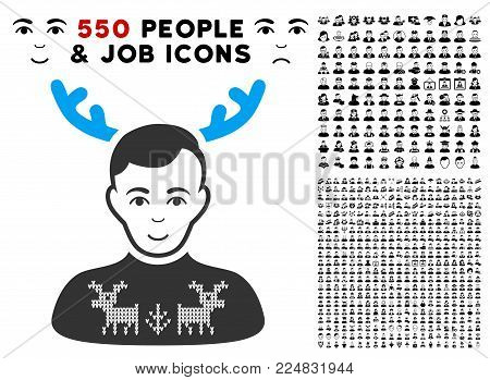 Positive Deers Pullover Horned Husband vector pictograph with 550 bonus pity and glad people design elements. Human face has positive feeling. Bonus style is flat black iconic symbols.