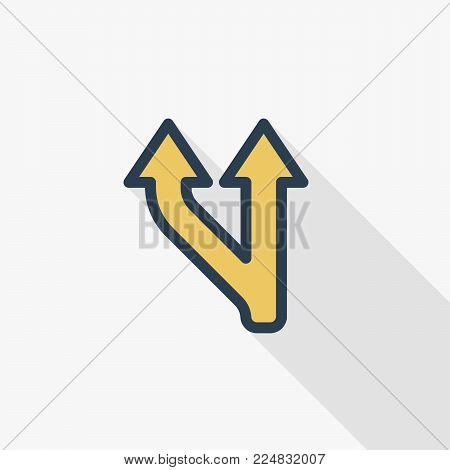 Junction, Separation, Two paths, ways thin line flat color icon. Linear vector illustration. Pictogram isolated on white background. Colorful long shadow design.