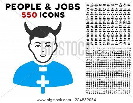 Gladness Devil Priest vector pictograph with 550 bonus pity and glad person symbols. Human face has joy expression. Bonus style is flat black iconic symbols.