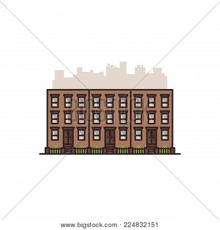 Brownstone old Manhattan New York city building. Vector isolated illustration on the white background in filled line style