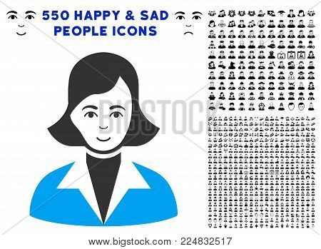 Cheerful Lady vector pictograph with 550 bonus pity and glad jobs images. Human face has cheerful sentiment. Bonus style is flat black iconic symbols.
