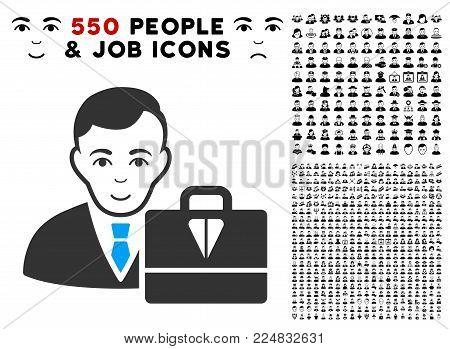 Glad Ton Accounter vector icon with 550 bonus pitiful and glad user images. Person face has joy sentiment. Bonus style is flat black iconic symbols.