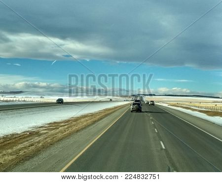 Cars on Trans-Canada Highway AB-1 from Calgary to Banff, Canada