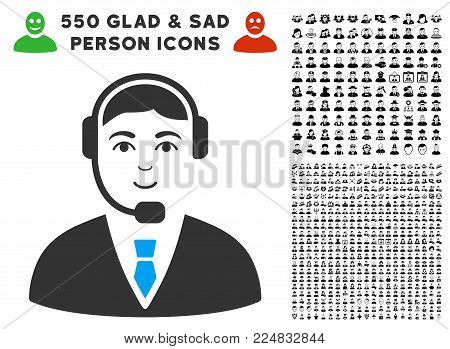 Positive Call Center Operator vector icon with 550 bonus pity and happy jobs symbols. Person face has gladness expression. Bonus style is flat black iconic symbols. poster