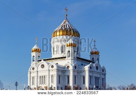 Moscow, Russia - February 01, 2018: Cathedral of Christ the Saviour with golden domes in sunny winter day. Moscow in winter