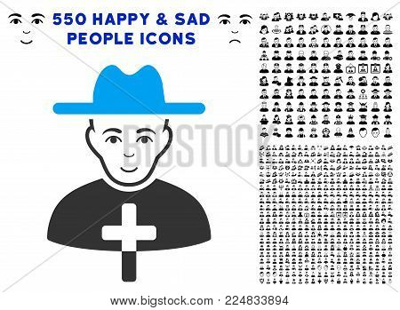 Glad Catholic Priest vector pictograph with 550 bonus pitiful and glad person pictograms. Human face has gladness mood. Bonus style is flat black iconic symbols.