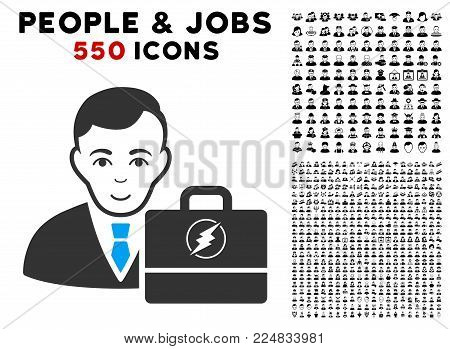 Joy Electroneum Accounter vector pictograph with 550 bonus pity and happy user pictograms. Human face has positive sentiment. Bonus style is flat black iconic symbols.