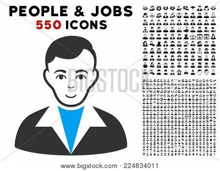 Joyful Guy vector icon with 550 bonus sad and glad user pictographs. Human face has glad sentiment. Bonus style is flat black iconic symbols.