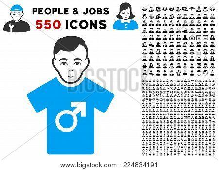 Joyful Guy vector icon with 550 bonus pitiful and glad men design elements. Person face has glad sentiment. Bonus style is flat black iconic symbols.