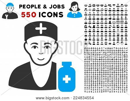 Enjoy Apothecary Doctor vector icon with 550 bonus pity and happy user graphic icons. Person face has smiling feeling. Bonus style is flat black iconic symbols.