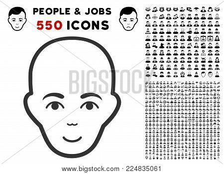 Glad Bald Head vector icon with 550 bonus sad and happy user pictograms. Human face has happy sentiment. Bonus style is flat black iconic symbols.