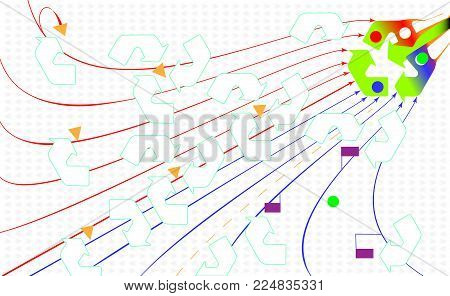 Environmental abstract backdrop. Recycle eco icon. Green arrows recycle. Flat style for graphic and web design, background. Vector. Materials recycled symbol, view of life
