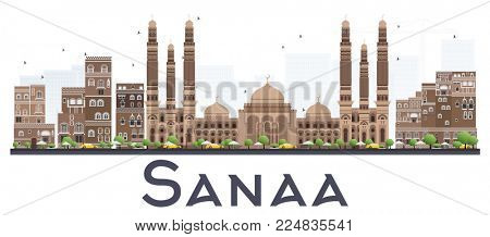 Sanaa Yemen City Skyline with Color Buildings Isolated on White Background. Business Travel and Tourism Concept with Historic Buildings. Sanaa Cityscape with Landmarks.