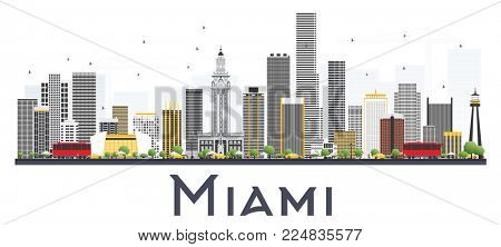 Miami USA City Skyline with Gray Buildings Isolated on White Background. Business Travel and Tourism Concept with Modern Buildings. Miami Cityscape with Landmarks.