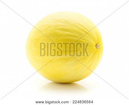 One yellow honeydew melon isolated on white background