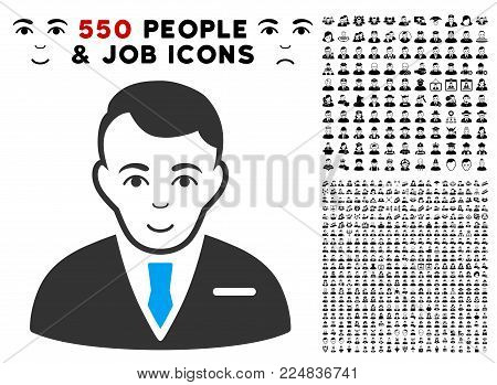 Happy Businessman vector icon with 550 bonus pity and glad jobs design elements. Person face has happiness sentiment. Bonus style is flat black iconic symbols.