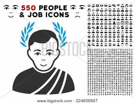 Happy Caesar Wreath vector pictogram with 550 bonus pitiful and glad people symbols. Person face has cheerful mood. Bonus style is flat black iconic symbols.