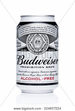 LONDON, UK - FEBRUARY 02, 2018: Aluminium can of Budweiser Alcohol free beer on white background.