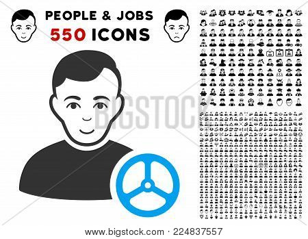 Cheerful Car Driver vector icon with 550 bonus pity and happy person clip art. Human face has joy feeling. Bonus style is flat black iconic symbols.