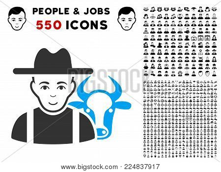 Smiling Cattle Farmer vector pictogram with 550 bonus pity and happy user graphic icons. Human face has happy feeling. Bonus style is flat black iconic symbols.