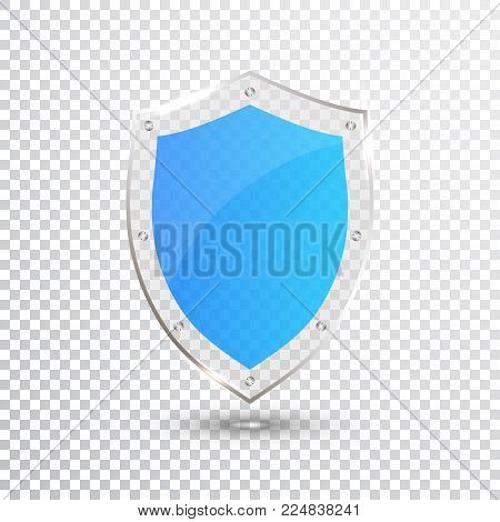 Transparent Blue Shield. Safety Glass Badge Icon. Privacy Guard Banner. Protection Shield Concept. Decoration Secure Element. Defense Sign. Conservation Symbol. Vector illustration.