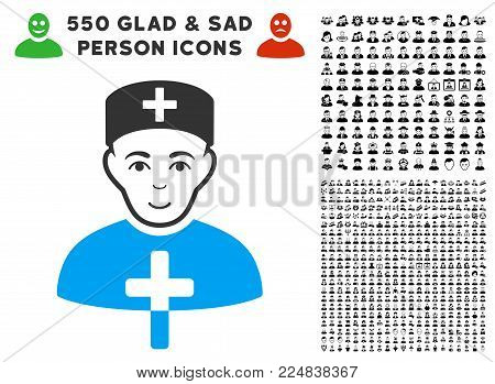 Joy Church Doctor vector icon with 550 bonus sad and glad person images. Person face has joy feeling. Bonus style is flat black iconic symbols.