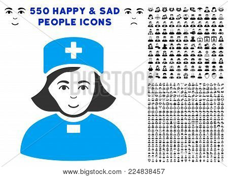 Happiness Church Female Doctor vector icon with 550 bonus sad and glad user symbols. Person face has gladness emotion. Bonus style is flat black iconic symbols.