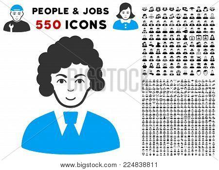 Smiling Clerk Woman vector icon with 550 bonus sad and happy men clip art. Human face has glad feeling. Bonus style is flat black iconic symbols.