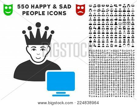 Smiling Computer Moderator vector pictograph with 550 bonus sad and glad person pictures. Human face has joyful emotion. Bonus style is flat black iconic symbols.