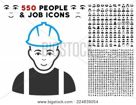 Glad Contractor vector pictogram with 550 bonus pity and glad jobs graphic icons. Person face has joyful sentiment. Bonus style is flat black iconic symbols.