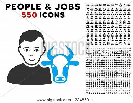 Smiling Cow Farmer vector pictograph with 550 bonus sad and glad user images. Human face has happy expression. Bonus style is flat black iconic symbols.