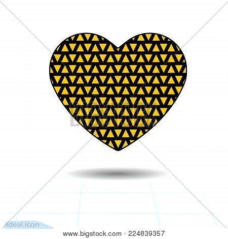 Heart icon. A symbol of love. Valentines day with of the texture of the little orange triangles. Flat style for graphic and web design, logo. Vector