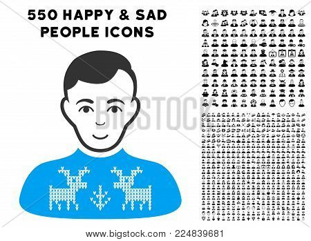 Gladness Deers Pullover Boy vector pictogram with 550 bonus pitiful and happy jobs icons. Human face has happiness feeling. Bonus style is flat black iconic symbols.