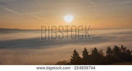 Morning landscape with haze on mountain in autumn