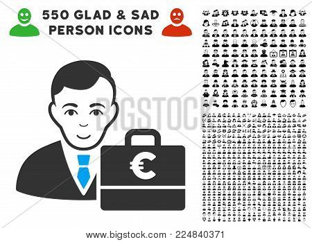 Glad Euro Accounter vector pictogram with 550 bonus pity and happy user pictograms. Person face has glad feeling. Bonus style is flat black iconic symbols.