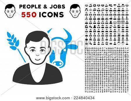 Enjoy Farmer vector pictogram with 550 bonus pitiful and glad person design elements. Human face has gladness sentiment. Bonus style is flat black iconic symbols.
