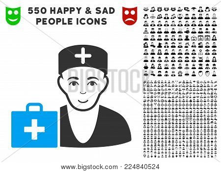 Glad First-Aid Doctor vector pictogram with 550 bonus sad and glad user clip art. Person face has joy emotions. Bonus style is flat black iconic symbols.