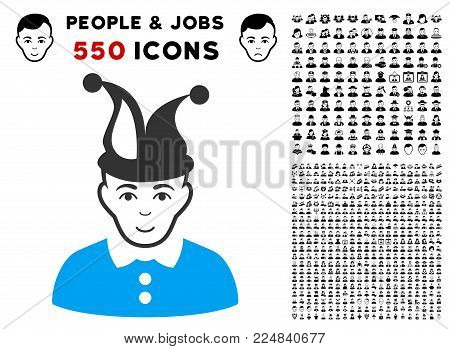 Enjoy Fool vector pictograph with 550 bonus pitiful and happy men clip art. Human face has smiling sentiment. Bonus style is flat black iconic symbols.