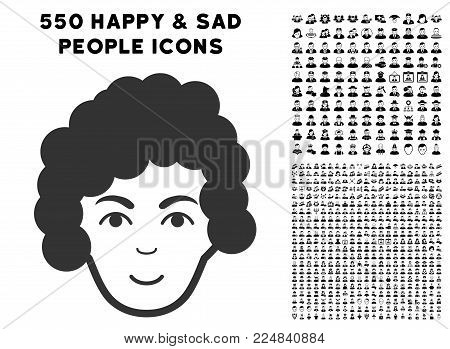 Glad Hairstyle Head vector pictogram with 550 bonus pity and glad men images. Person face has enjoy emotion. Bonus style is flat black iconic symbols.