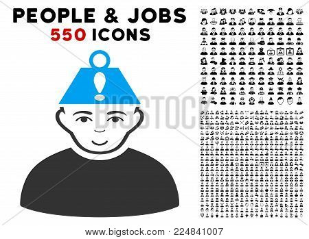 Joyful Head Stress vector pictogram with 550 bonus sad and happy person design elements. Person face has happiness feeling. Bonus style is flat black iconic symbols.