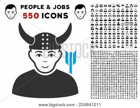 Joy Horned Warrior vector pictogram with 550 bonus pity and happy people symbols. Human face has joy expression. Bonus style is flat black iconic symbols.