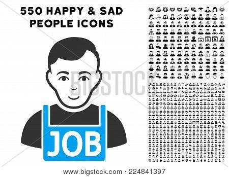 Happiness Jobless vector pictogram with 550 bonus sad and happy people icons. Human face has glad feeling. Bonus style is flat black iconic symbols.