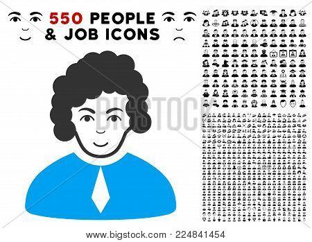 Enjoy Judge vector icon with 550 bonus sad and glad people pictographs. Person face has joyful feeling. Bonus style is flat black iconic symbols.