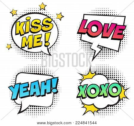 Retro colorful comic speech bubbles set for Valentine's Day. Isolated on white background. Expression text KISS ME, YEAH, LOVE, XOXO. Vector illustration, pop art style.